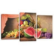 ЦветыМодульные картины из 3 частей 55x100 см - Модульная картина арт. МТ167
