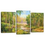 ЦветыМодульные картины из 3 частей 55x100 см - Модульная картина арт. МТ180