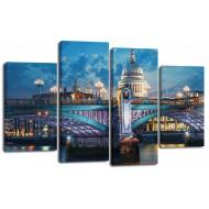 ГородаМодульные картины из 4 частей 82x125 см - Модульная картина арт. ЧМ218