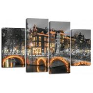 ГородаМодульные картины из 4 частей 82x125 см - Модульная картина арт. ЧМ221