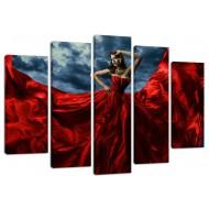 """Картина-сувенир - Модульная картина арт.49 """"Девушка в красном"""""""