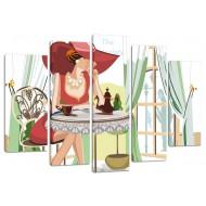 """Картина-сувенир - Модульная картина арт.52 """"Девушка в кафе"""""""