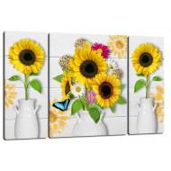 ЦветыМодульные картины из 3 частей 80x50 см - Модульная картина TRP967 (80x50)