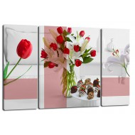 ЦветыМодульные картины из 3 частей 80x50 см - Модульная картина TRP968 (80x50)