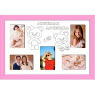 ФоторамкиФоторамки Детские мультирамки - D5-1(pink)_55x37
