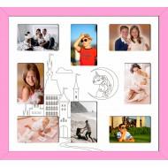 ФоторамкиФоторамки Детские мультирамки - D8-2(pink)_55x50
