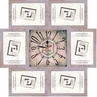 ФоторамкиФоторамки-коллажи, наборы - Фоторамка - коллаж + часы f4 - МДФ беж