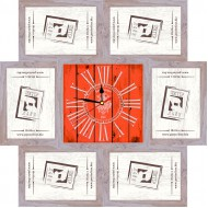 ФоторамкиФоторамки-коллажи, наборы - Фоторамка - коллаж + часы f5 - МДФ беж