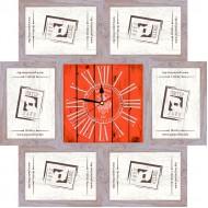 ФоторамкиФоторамки наборы из 6шт + часы - Фоторамка - коллаж + часы f5 - МДФ беж