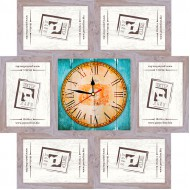 ФоторамкиФоторамки наборы из 6шт + часы - Фоторамка - коллаж + часы f6 - МДФ беж