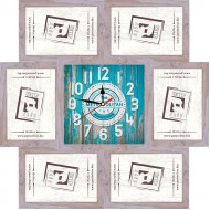 ФоторамкиФоторамки наборы из 6шт + часы - Фоторамка - коллаж + часы f7 - МДФ беж