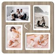 Картина-сувенир - Фоторамка на 4 фото 4-1 (дуб) 33х33