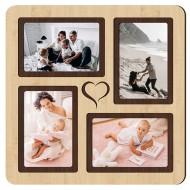 Картина-сувенир - Фоторамка на 4 фото 4-1 (клен) 33х33