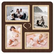 Картина-сувенир - Фоторамка на 4 фото 4-1 (венге) 33х33