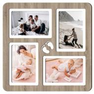 Картина-сувенир - Фоторамка на 4 фото 4-2 (дуб) 33х33