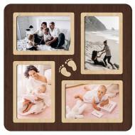 Картина-сувенир - Фоторамка на 4 фото 4-2 (венге) 33х33