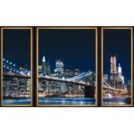 """Картина-сувенир - K162 - Триптих """"Бруклинский мост"""""""
